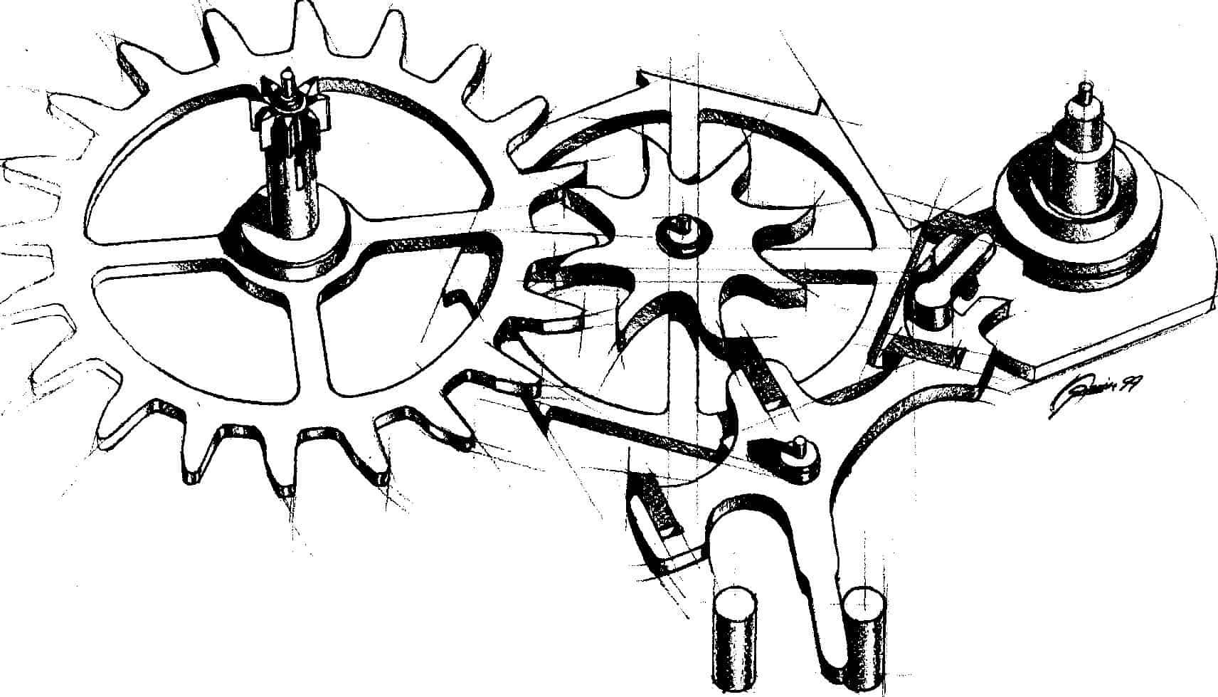 איור שהכין ג'ורג' דניאלס שמציג את מנגנון הבריחה הקו-אקסיאלי.