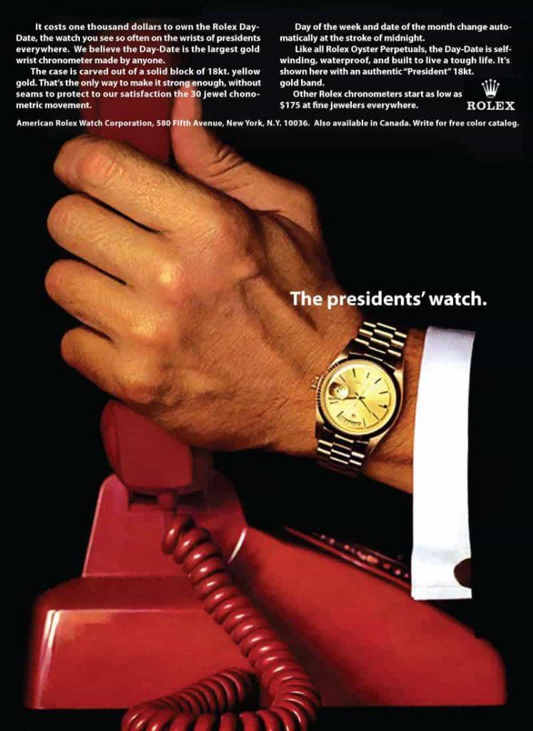 אחת הפרסומות המפורסמות לרולקס פרזידנט, משנת 1966