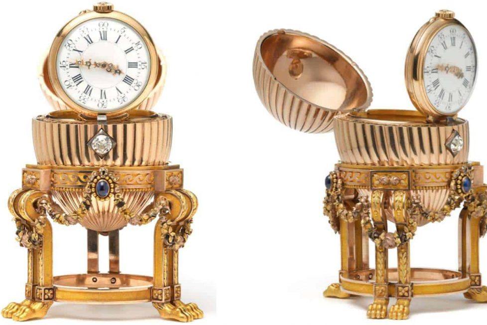 ביצת הפברג'ה עם שעון של וושרון קונסטנטין. מקור - HODINKEE.