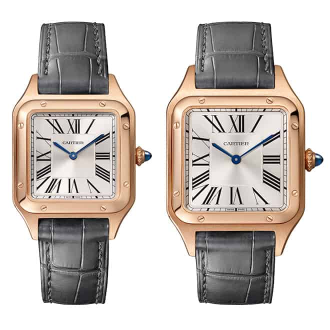 cartier santos dumont 27.5 and 31.4 rose gold