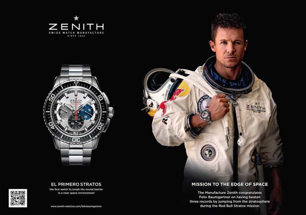 פרסומת לשעון הזניט אל פרימרו עם פליקס באומגרטנר. מקור - זניט.