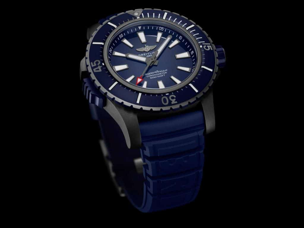 breitling superocean titanium black blue dial rubber strap
