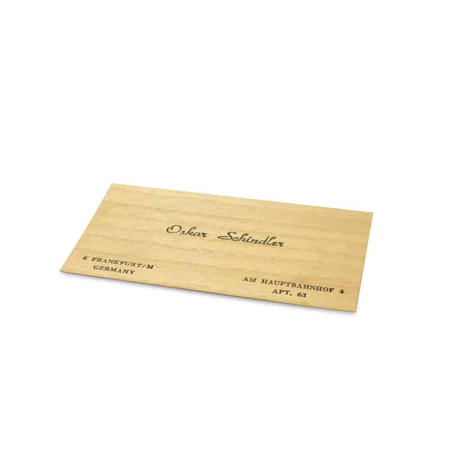 כרטיס הביקור של אוסקר שינדלר. מקור - RR Auctions.