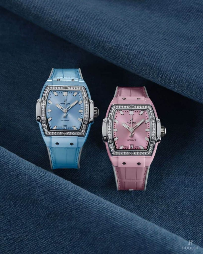 Hublot spirit of big bang pink and blue ceramic titanium with diamonds