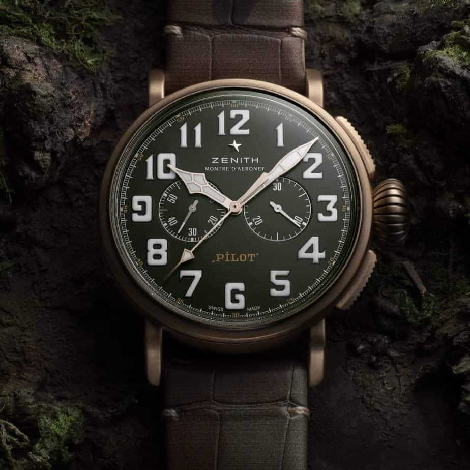zenith type 20 chronograph bronze green dial