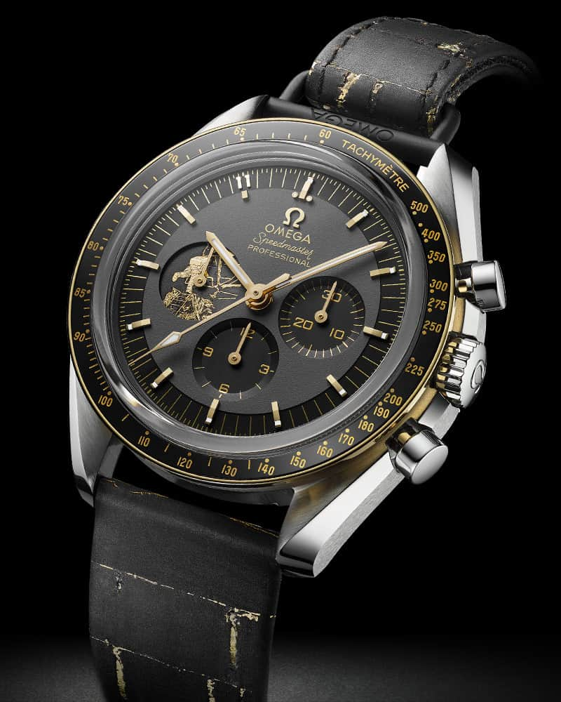 שעון האומגה ספידמסטר אפולו 11 שנת ה-50 מהדורה מוגבלת בפלדת אל-חלד. מקור - אומגה.
