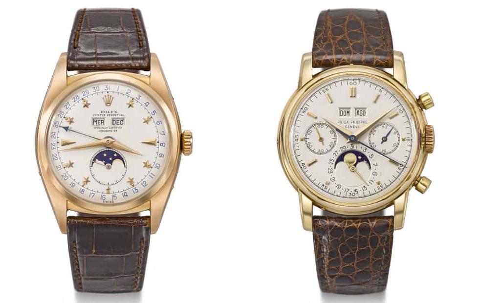 זוג שעונים נדירים מבית רולקס ופטק פיליפ שעומדים למכירה במכירה הפומבית של כריסטיס ב-13 למאי 2019 בג'נבה. מקור - WatchPro.