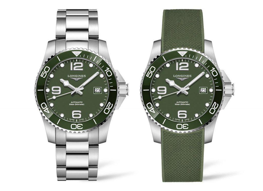 לונג'ין Hydroconquest ירוק. זוג שעונים חדשים בסדרת שעוני הצלילה של לונג'ין. מקור - TimeandWatches.