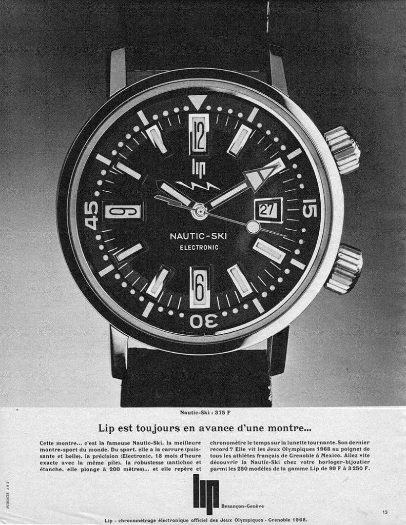 שעוני הצלילה של ז'אק קוסטו - שעון ה-LIP NAUTIC-SKI. מקור - FratelloWatches.