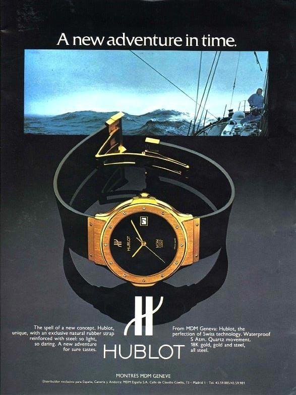 פרסומת לשעון הראשון של הובלו. מקור - Hodinkee.
