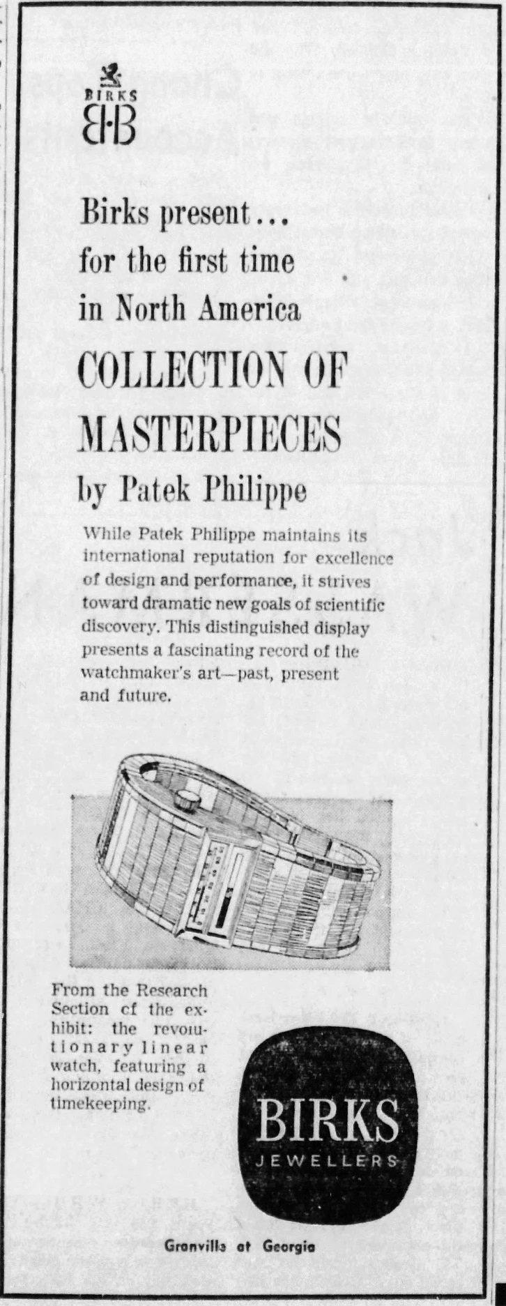 מודעה למוזיאון הנודד של פטק פיליפ בארצות הברית בשנות השבעים. מקור - WatchProSite.