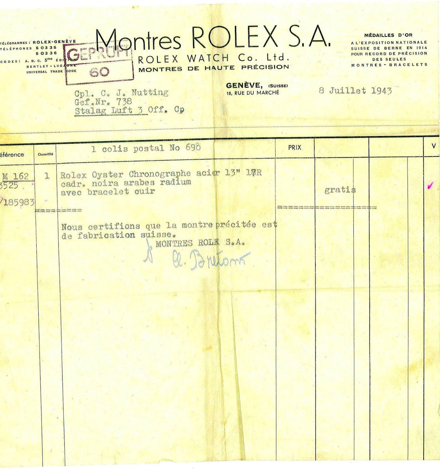 הקבלה של רולקס לשעון של נוטינג. מקור - RolexMagazine.com.