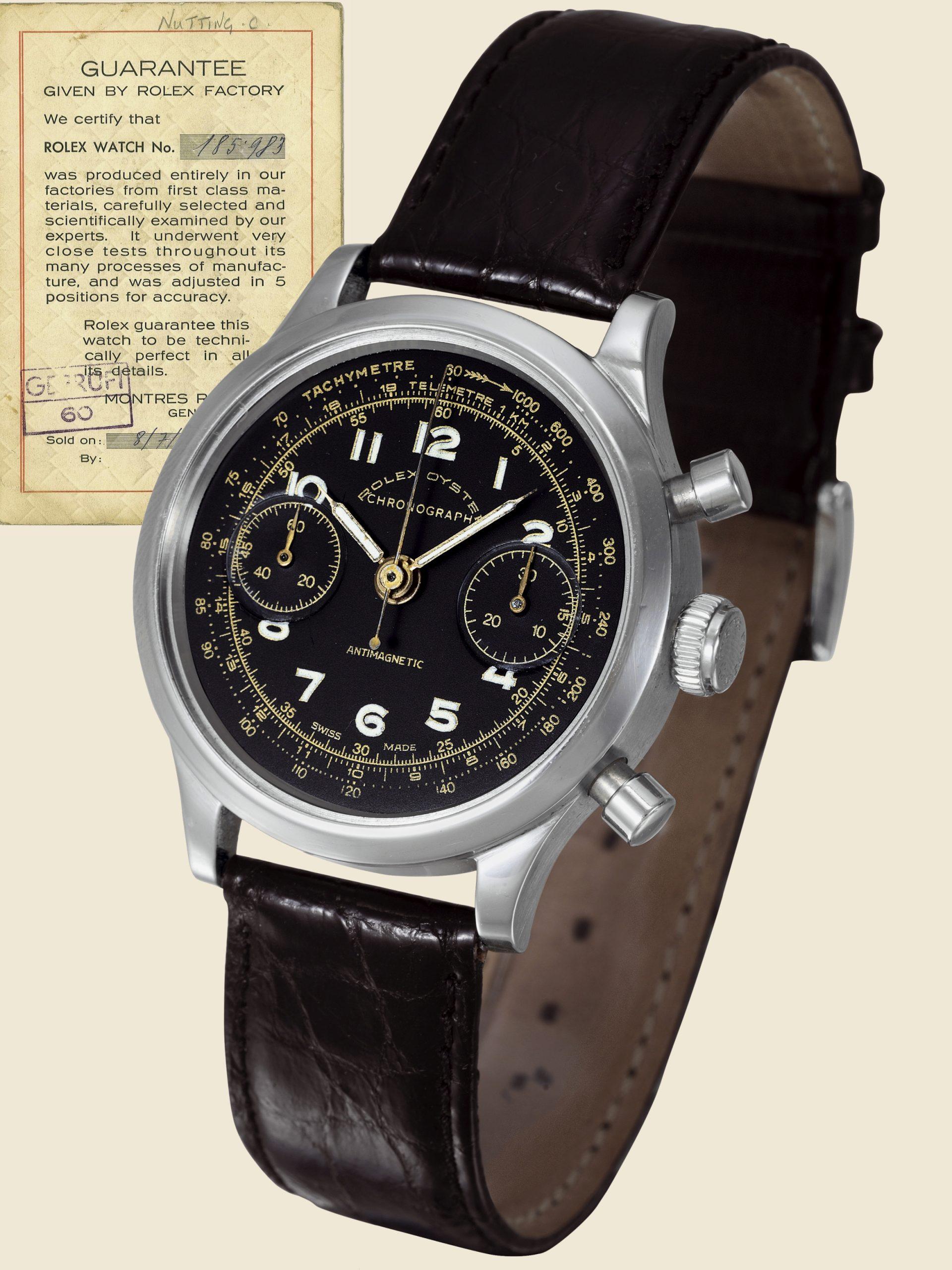 שעון הרולקס שסייע בתכנון הבריחה מהנאצים - השעון של נוטינג מפורסם למכירה על ידי אנטיקורום. מקור - אנטיקורום.