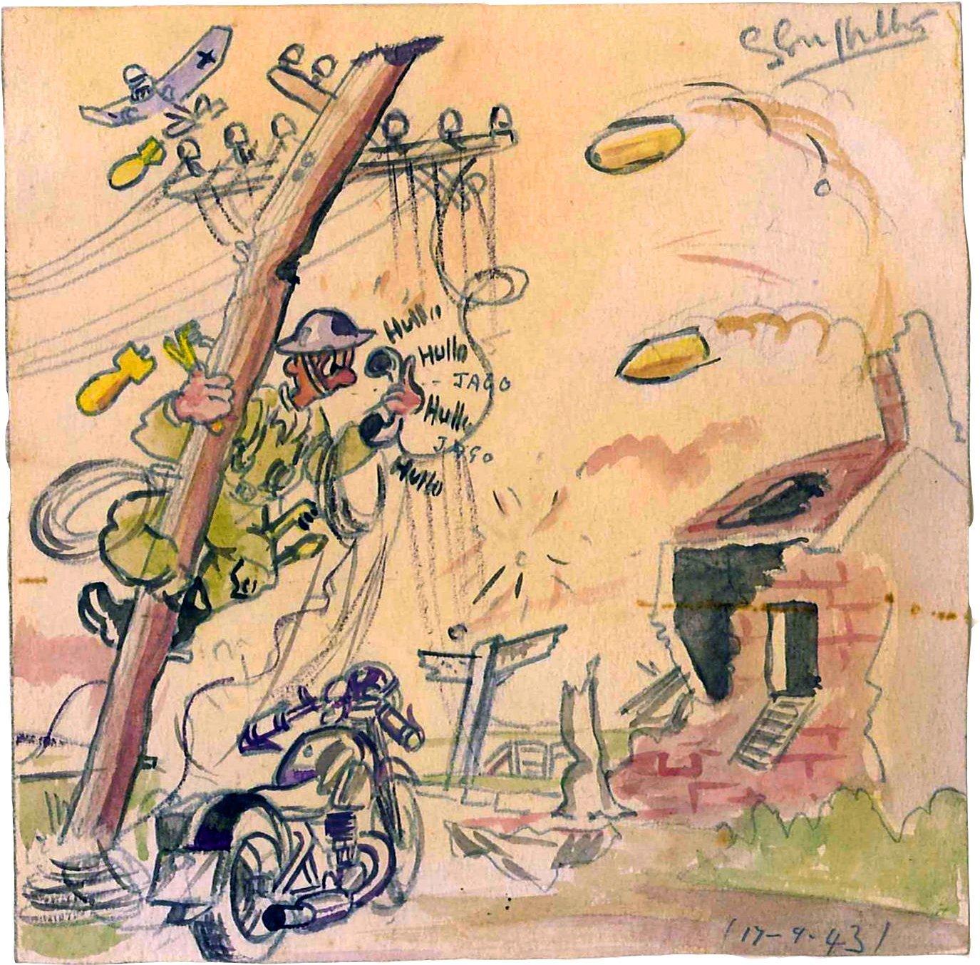 איור של נוטינג בו הוא מתאר את הלילה בו נפל בשבי. מקור - RolexMagazine.com.