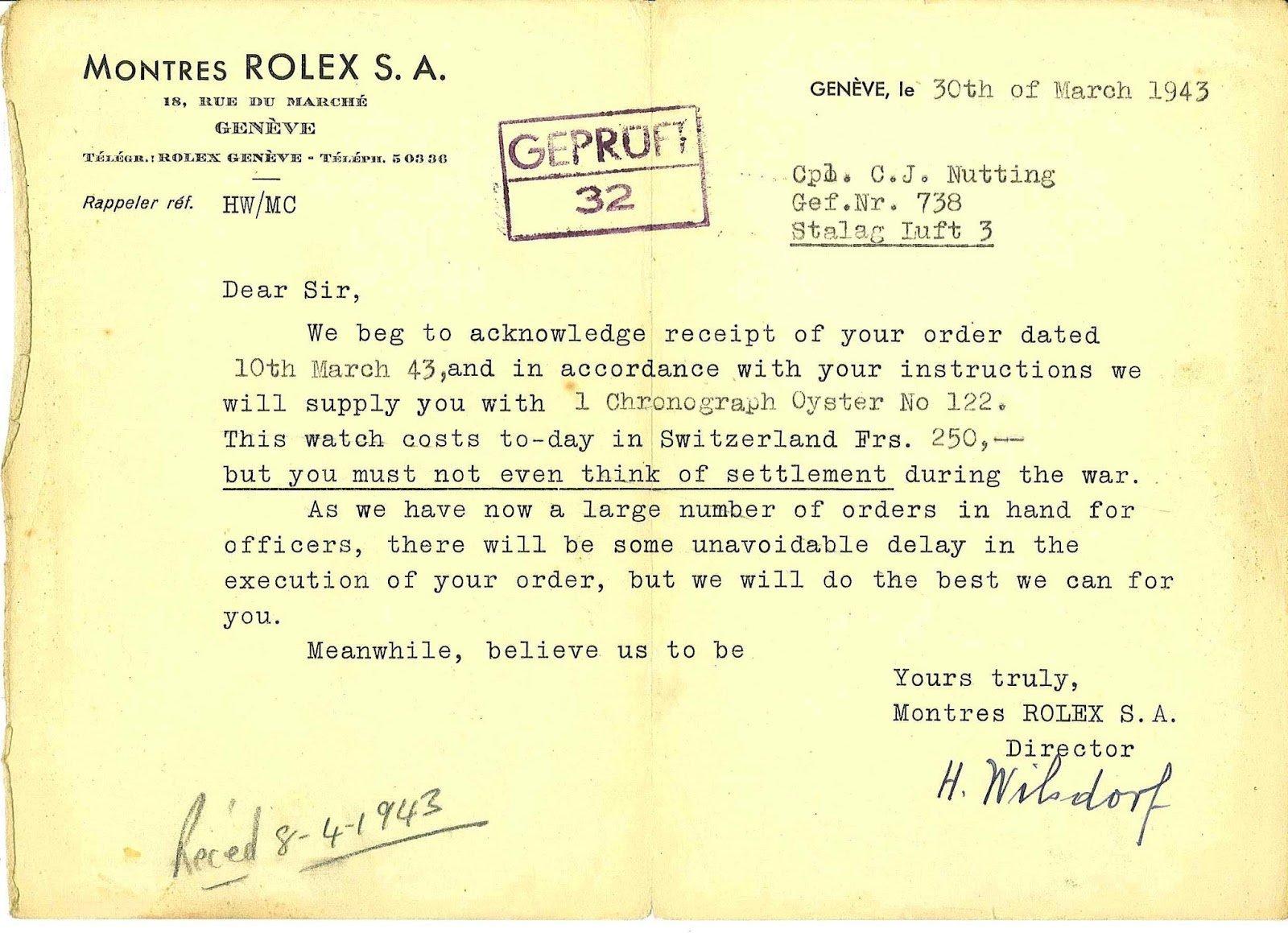המכתב של ווילסדורף לנוטינג. מקור - RolexMagazine.com.