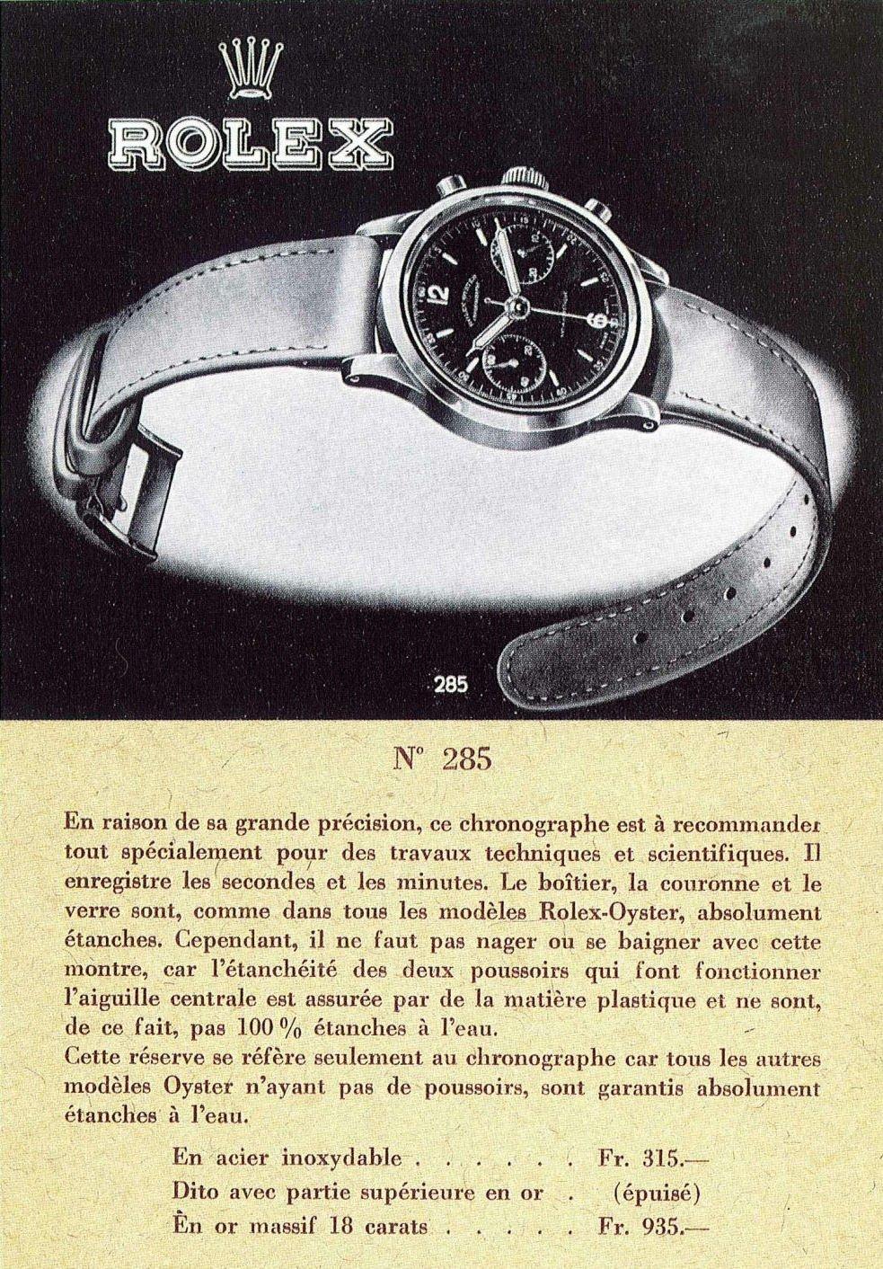 פרסומת לשעון משנות הארבעים של המאה הקודמת. מקור - RolexMagazine.