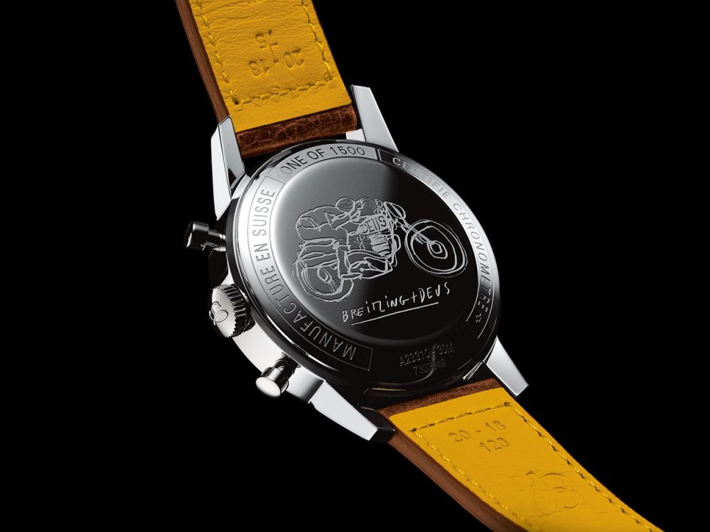 גב השעון עם תחריט של אופנוען בנסיעה. מקור - TimeandWatches.