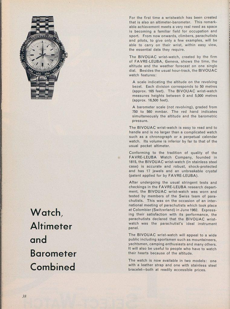 פרסומת לשעון ה-BIVOUAC. מקור - EUROPA STAR.