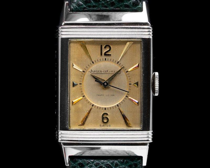 שעון רברסו של יגר לה קולטרה עם השם FAVRE LEUBA על הלוח. מקור - EUROPEAN WATCH COMPANY.