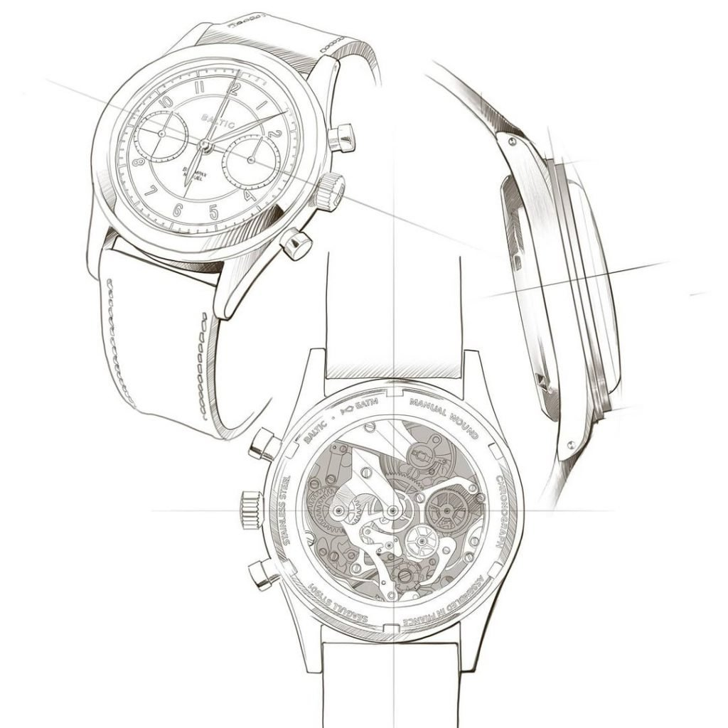 סקיצת שעון של BALTIC. מקור - עמוד האינסטגרם של החברה.