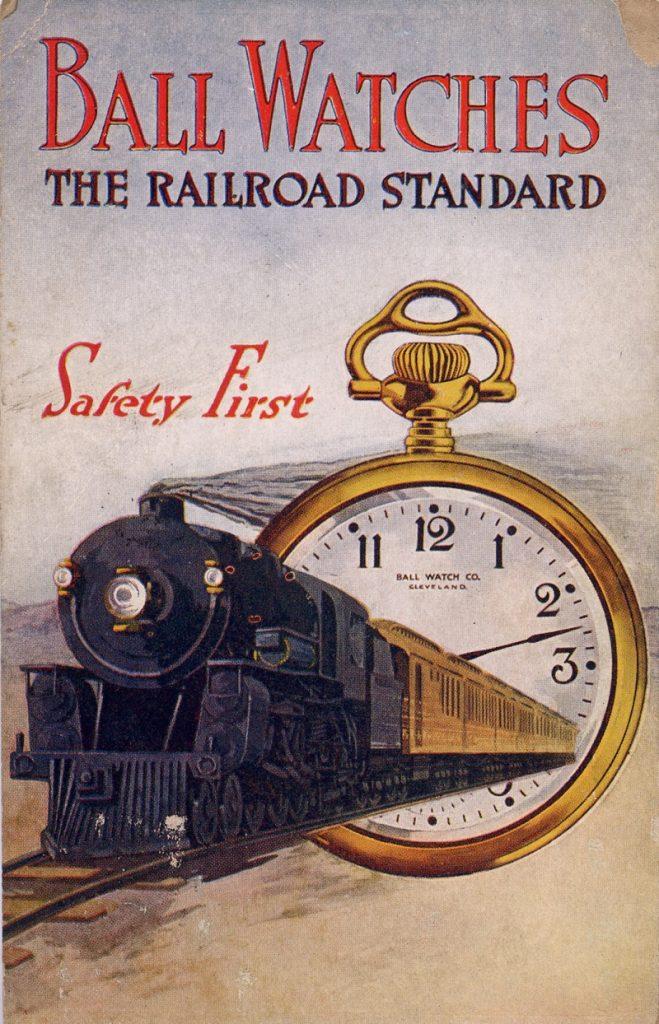 פרסומת לשעוני BALL עם הכיתוב - SAFETY FIRST. מקור - וויקיפדיה.