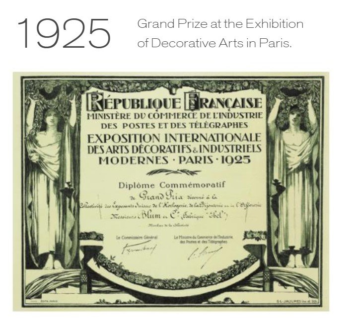 EBEL זוכה בפרס בתערוכה לאמנות עיצובית בפריז בשנת 1925. מקור - ברושור החברה.