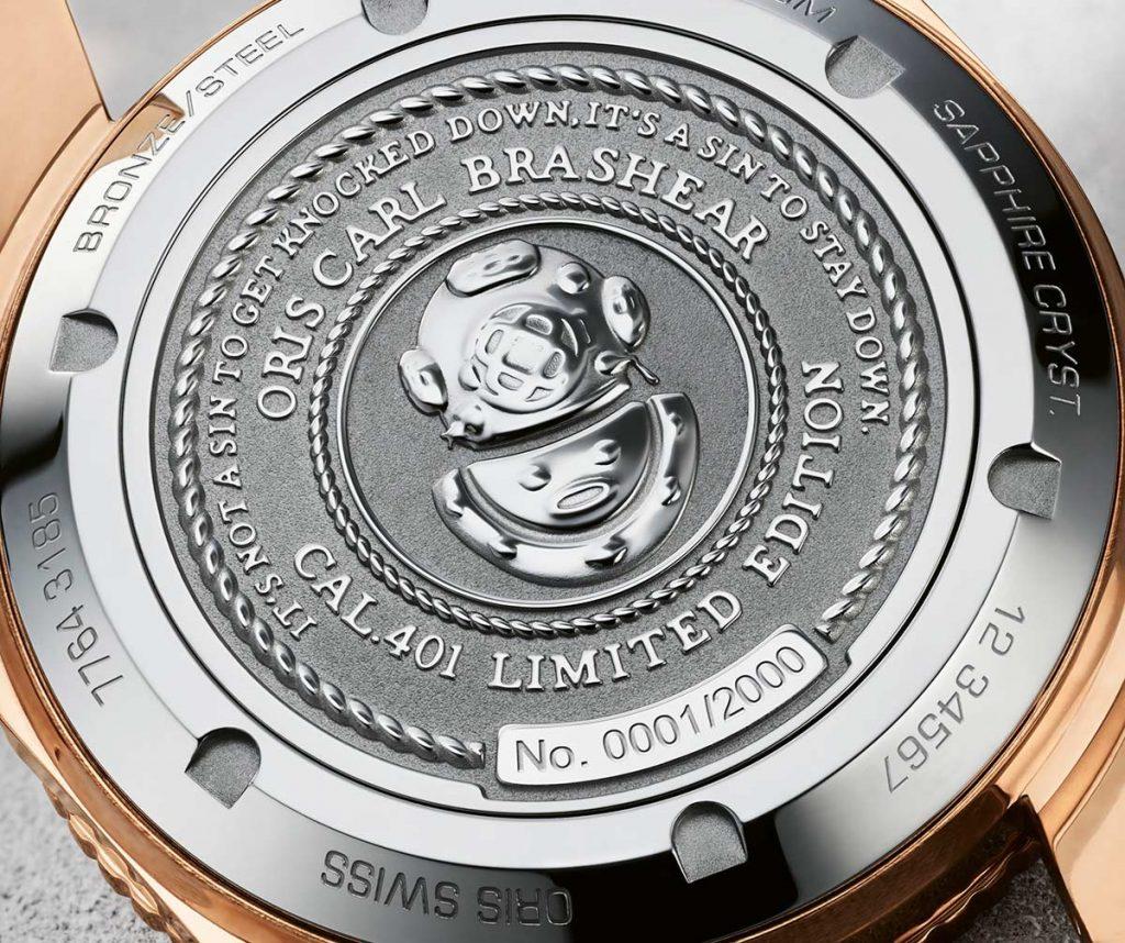 גב השעון עם הסלוגן של בראשיר. מקור - TimeandWatches.