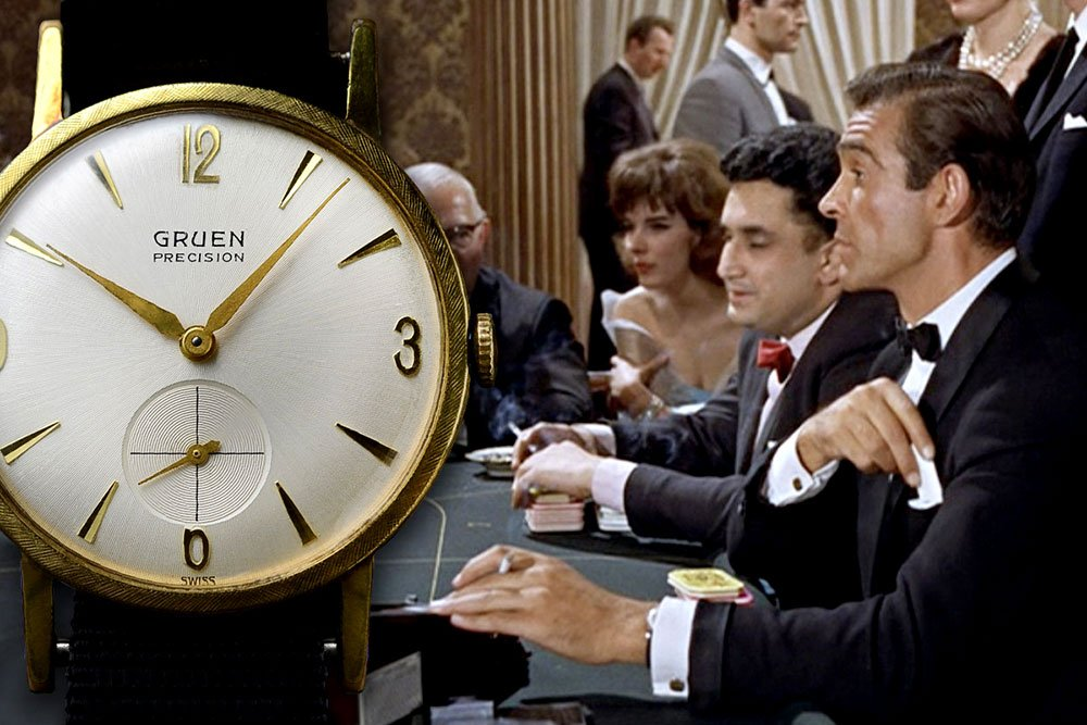 שון קונרי עונד שעון של גרואן. מקור - the007world.com.