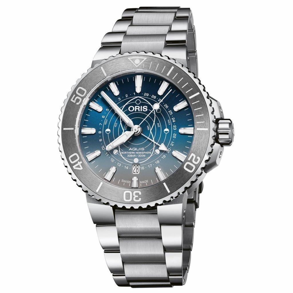 תצוגת הגאות והשפל בלוח השעון. מקור - Monochrome Watches.