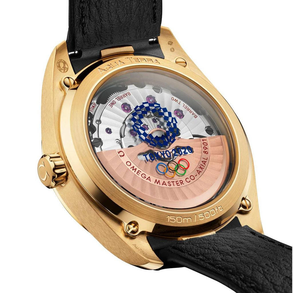 אקווה טרה טוקיו 2020 זהב - קליבר 8901 בגב השעון. מקור - TIMEANDWATCHES.