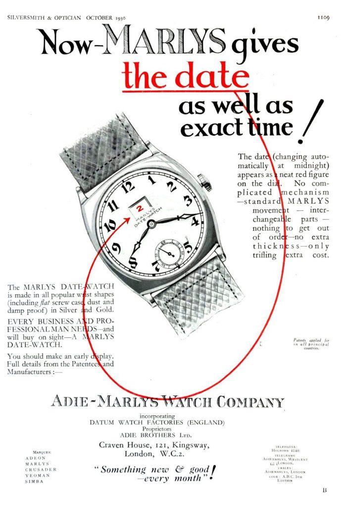 שעון התאריכון של Marlys. מקור - VintageWatchStraps.