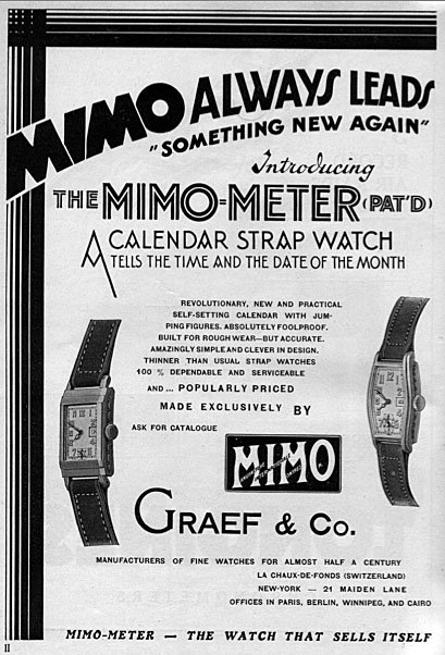 הקומפליקציה הבסיסית ביותר - התאריכון - הפרסומת של MIMO. מקור  - ItalianWatchSpotter.