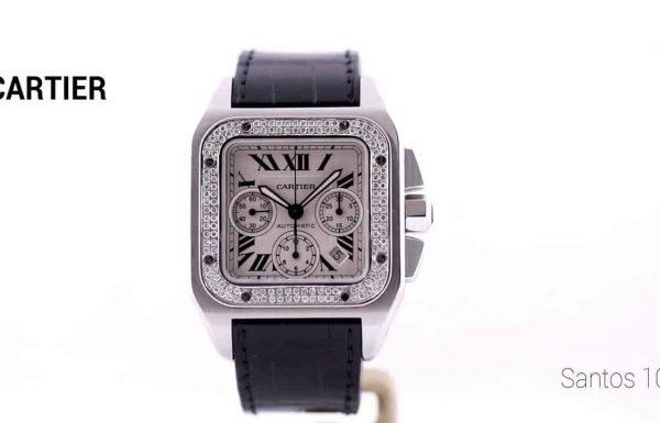 קרטיה סנטוס 100 כרונוגרף משובץ יהלומים 2740 Cartier Santos 100 Chronograph Diamond bezel