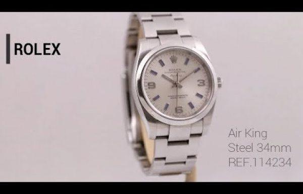 רולקס אייר קינג לוח כסוף 114200 Rolex Airking Midsize Blue Silver