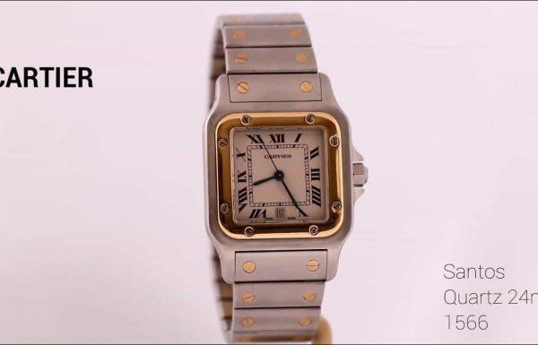 """קרטיה סנטוס 1566 קוורץ 24 מ""""מ משולב זהב Cartier Santos Quartz 1566 24 mm Two-tone Ref 1566"""