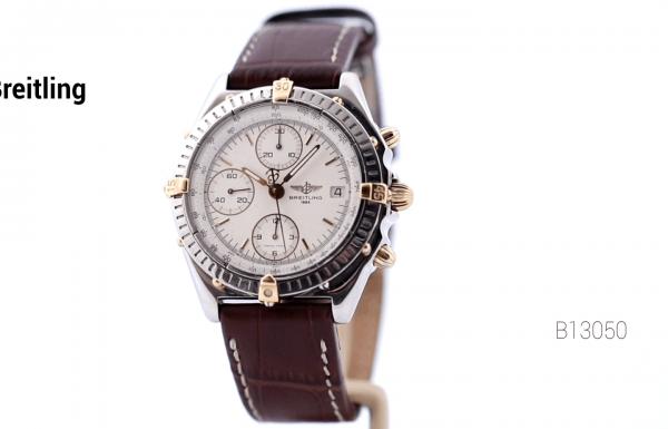 ברייטלינג כרונומט לוח לבן רצועת עור Breitling Chronomat White Dial B13050