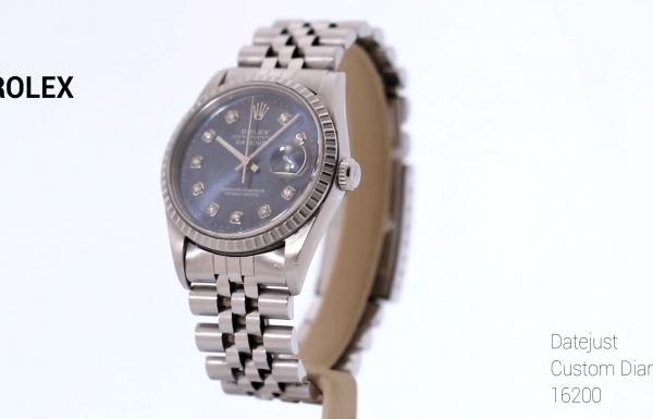 רולקס דייטג'אסט בזל משונן לוח יהלומים 16220 Rolex Datejust Custom diamond Dial