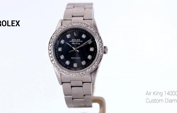 רולקס אייר קינג משובץ יהלומים 14000 Rolex Air King Custom Diamond dial & Bezel