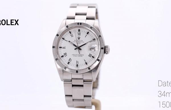 רולקס דייט וינטג' לוח לבן וספרות רומיות 1500 Rolex Date Vintage White dial