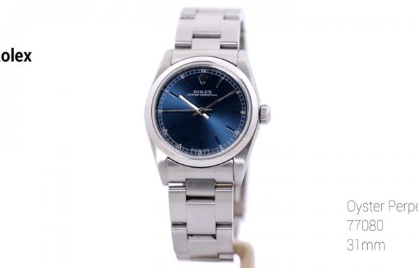 """רולקס אוייסטר פרפטואל 31 מ""""מ לוח כחול 77080 Rolex Oyster Perpetual 31mm"""