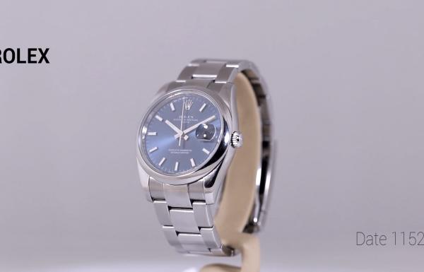 רולקס דייט לוח כחול 115200 Rolex Date Blue dial Ref